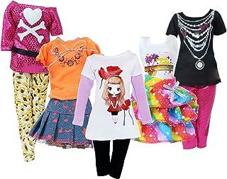 BJDBUS 5 Sets Colorful Outfit Short Sleeves Shirt Vest Blouse Pants Denim Skirt Fashion Clothes...