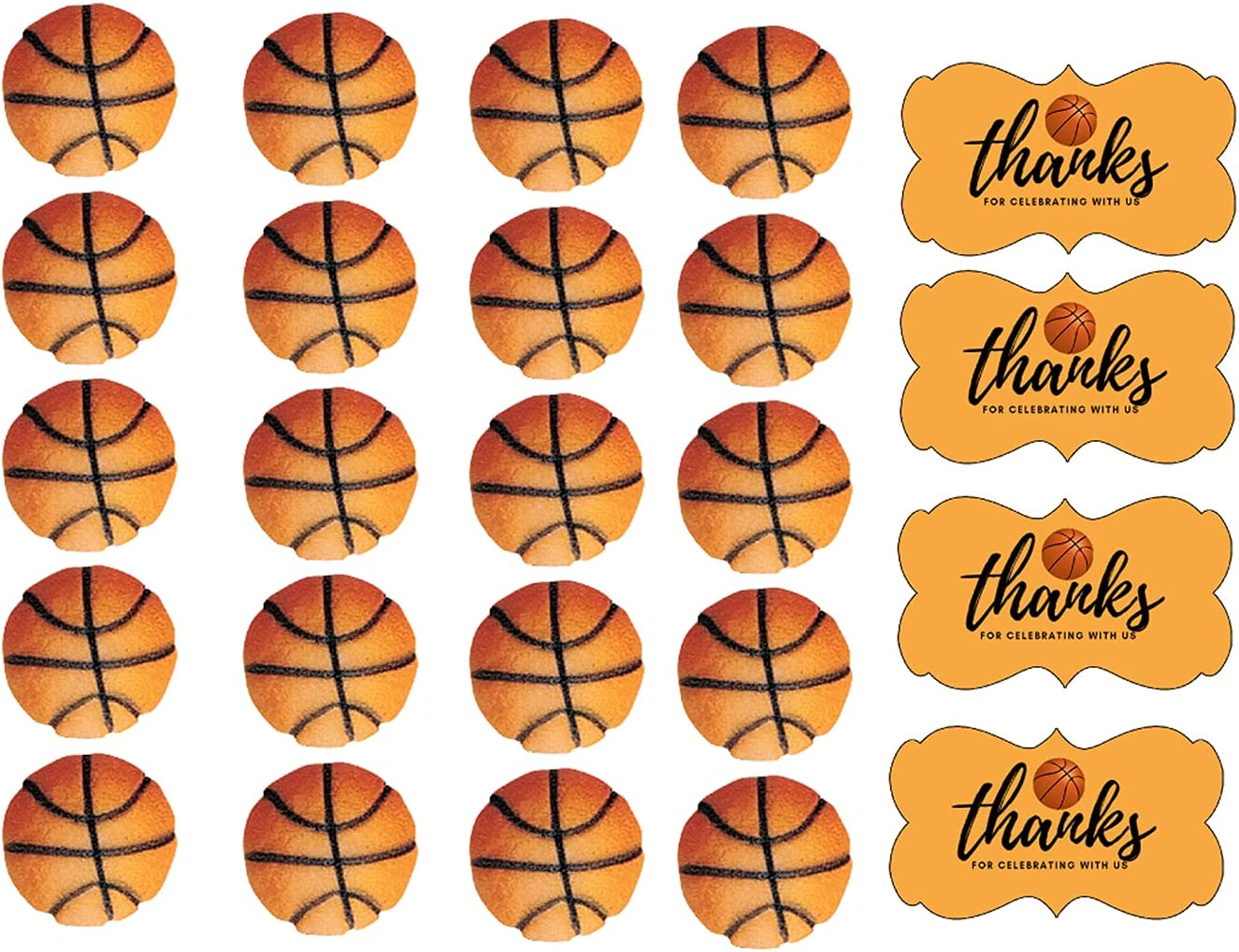 Amazon Com 24pk Basketball Cupcake Dessert Sugar Decoration Toppers With Sparkle Flakes Decorating Stickers Grocery Gourmet Food