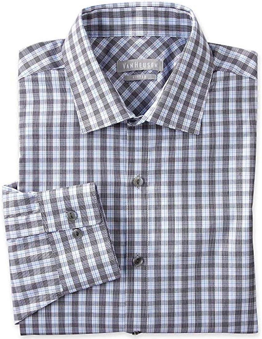 Van Heusen Regular Fit Dress Shirt Plaids & Checks 15 32-33 Blue Ice