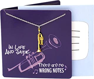 Teach Love Inspire Musical Necklace with Golden Trumpet Pendant, comes with Inspirational Quote Greeting Cards