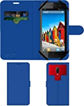 Acm Strap Leather Flip Case Compatible with Micromax A110q Canvas 2 Plus Mobile Front & Back Cover Blue