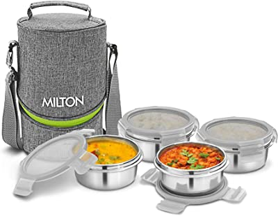 Milton Chic 4 Stainless Steel Tiffin Box, Set of 4, Grey