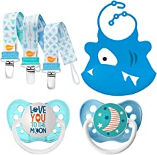 Ulubulu Love You to The Moon and Teal Moon Designs/Boy Pacifier Clip Combo/Silicone Bib, 6-18 Months