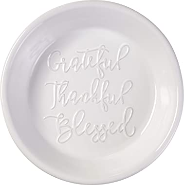 Precious Moments Bountiful Blessings Grateful, Thankful, Blessed Pie Plate, White