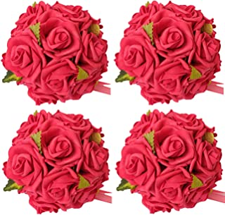 idyllic 6 Inches Kissing Flower Foam Ball Romantic Rose Pomander Red for Wedding Centerpieces Decorations Soft Touch 4 Pack