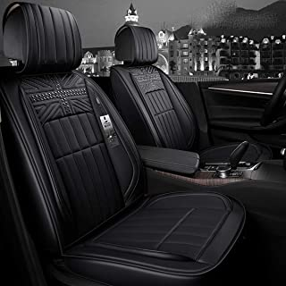 INCH EMPIRE Easy to Clean PU Leather Car Seat Cushions 5 Seats Full Set - Rivet Decorated Universal Fit Cover Anti-Slip Suede Backing Adjustable Bench for 95% Types of Cars(Rivet Black)