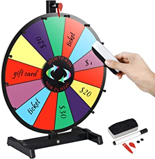 Smartxchoices 15/18/24 inch Tabletop Color Spinning Prize Wheel w/Dry Eraser & Marker Pen 14 Slots Editable Spin Wheel Game Fortune Spinner Trade Show Carnival