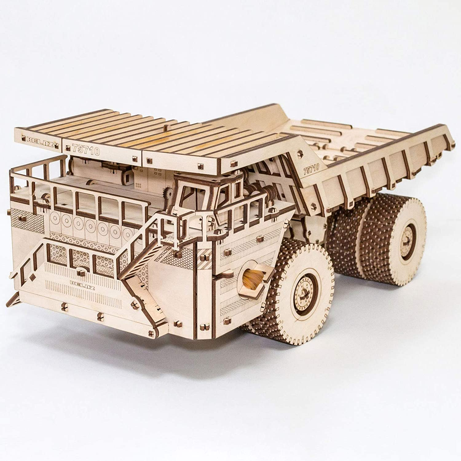 EWA Mechanical 3Dpuzzle of the biggest heavy truck in the world – BELAZ 75710. Assembled model size  435210175 mm Package size  37524362 mm Number of details  453 Assembling without glue