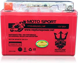 YTX9-BS 12V 9Ah High Performance GEL Motorcycle Battery by Neptune