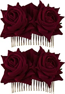Crownguide 2-Pack Rose Flower Bridal Hair Combs Women Wedding Hair Accessories Pieces For Brides Flamenco Dancer Hairstyles Burgundy