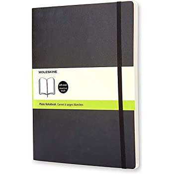 "Moleskine Classic Notebook, Soft Cover, XL (7.5"" x 9.5"") Plain/Blank, Black, 192 Pages"