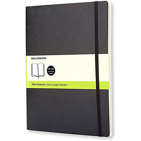 """Moleskine Classic Notebook, Soft Cover, XL (7.5"""" x 9.5"""") Plain/Blank, Black, 192 Pages"""