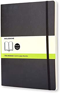Moleskine Classic Soft Cover Notebook - Plain - Extra Large - Black, (QP623)