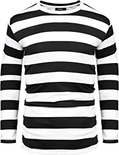 iClosam Mens Long Sleeve Basic Striped Shirt Crew Neck T-Shirt