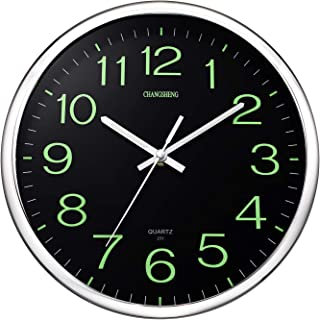 ufengke Silver Luminous Wall Clock Silent Novelty Quartz Clocks with Glowing Numerals and Hands for Living Room Bedrooms Lounge 12