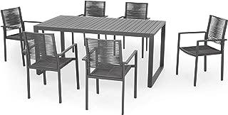 Great Deal Furniture Virginia 6 Seater Aluminum Dining Set, Gray and Dark Gray