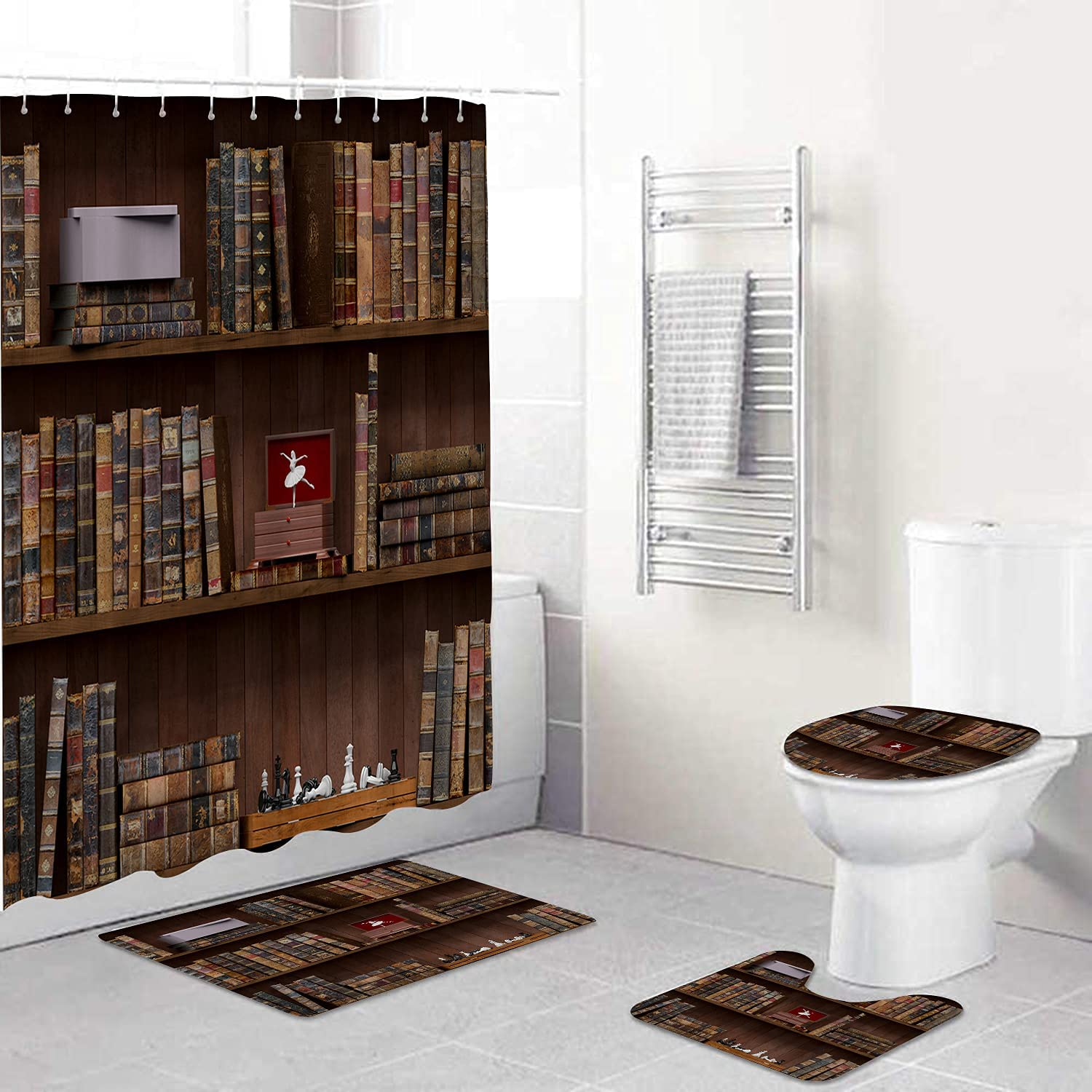 Amextrian 4 Pcs Max 62% OFF Shower Boston Mall Curtain Sets Rugs Toilet with Li Non-Slip