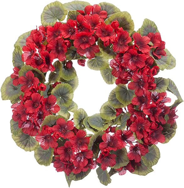 OakRidge Red Geranium Wreath 14 Diameter Silk Floral Home D Cor
