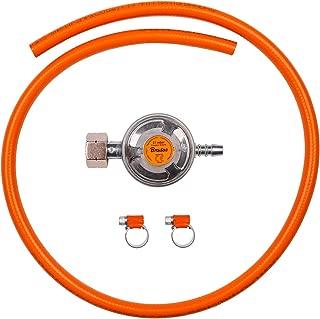 BFG Juego de conexión para Gas butano de propano, Incluye regulador de Gas de Baja presión de 37 mbar, 1,5 kg/h con válvula de Emergencia, Manguera de 1 m y 2 Abrazaderas de Manguera