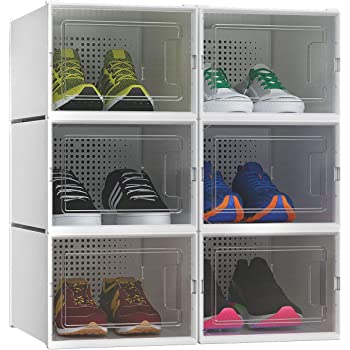 YITAHOME Big Size Shoe Box Set of 6 Shoe Storage Organizers Heavy Duty Stackable Clear Shoe Storage Box Rack Clear Drawer-White