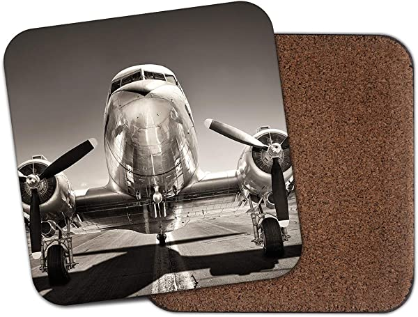复古银色喷射流飞机杯垫飞机航空酷礼物 15706