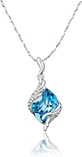 Yellow Chimes Crystals from Swarovski Angel Guardian Silver Crystal Pendant for Women and Girls