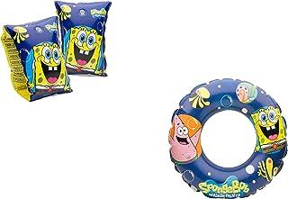 JOVAL -Set Infantil para Piscina de Bob Esponja. Flotador y Manguitos. Buen Vinilo, Resistente al Agua y Rayos UV. con válvulas de Seguridad para la máxima Seguridad.