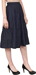 Baby'O Women's Below The Knee Length 5 Tiered Denim Prairie Skirt