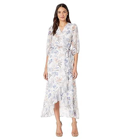 1.STATE Cross Front Tie Waist Paisley Dress (Soft Ecru Multi) Women