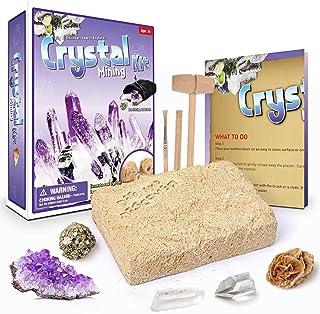 AMERTEER Gemstone Crystal Dig Kit, Excavate 5 Gems Treasure Great Educational STEM Gift -Great Science kit- Gemology- Mini...