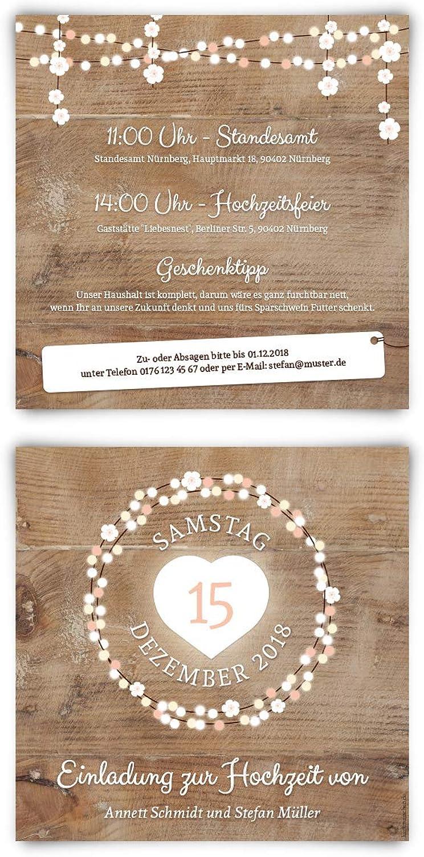 100 x x x Hochzeitseinladungen Einladungen zur Hochzeit individuell Text Gestaltung - Holz Lichtgirlande B07L4F27XS  | Lebhaft  c0f3c4