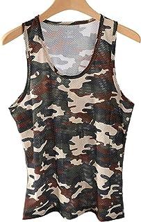 (BaLuoTe)メンズ タンクトップ 夏 迷彩柄 薄手 インナーウェア トップス 透かし彫り tシャツ ノースリーブ レーヨン 通気 吸汗速乾 ハンサム カッコイイ