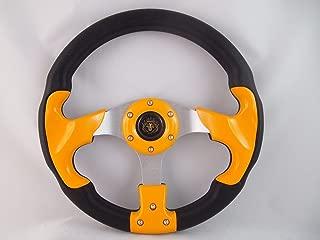 New World Motoring YAMAHA GOLF CART & POLARIS RHINO YELLOW steering wheel W/Chrome Adapter 3 spoke