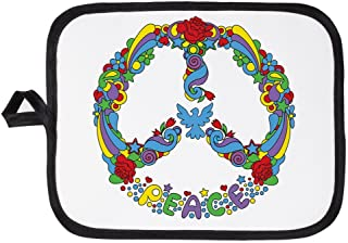 Potholder Pot Holder Pop Art Peace Symbol Flowers Stars