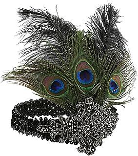 comprar comparacion Sunbeter 1920s Flapper Headpiece Feather Headband Vintage con lentejuelas Rhinestone Hairband fiesta de Halloween Feather ...