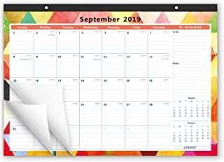 Cabbrix 2019-2020 Monthly Desk Calendar, 17 x 12 Inches, Wirebound, Fashionable Designer for Office and Home