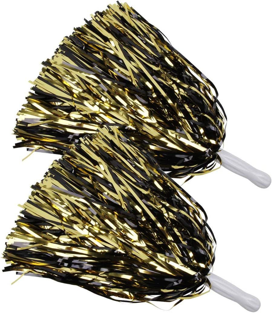 ICObuty Metallic Cheerleading Pom Poms Foil Fluffy 12 inch 2 Pack NO Sheddingfor Sport Squads Dance Hen Party Stage Performance Celebration
