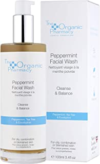 The Organic Pharmacy Peppermint Facial Wash, for Cleansing and Balancing Oily, Combination, or Blemished Skin, 3.4 Ounce /...