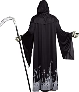 Spooktacular Creations Grim Reaper Scary Skeleton Halloween Costumes with Glow Pattern for Men, Scythe Included