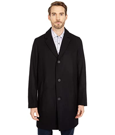 Cole Haan 37 Melton Wool Notched Collar Coat with Welt Body Pockets (Black) Men