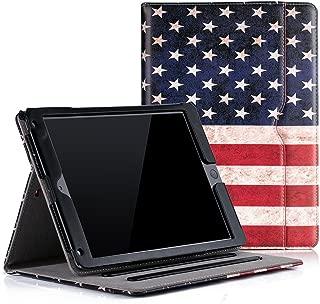 Ruban Case for iPad 9.7 inch 2018/2017 / iPad Air 2 / iPad Air - [Corner Protection] Multi-Angle Viewing Folio Stand Cover w/Pocket, Auto Wake/Sleep, American Flag