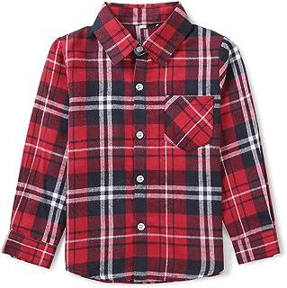 قميص فلانيل منقوش بأكمام طويلة بأزرار سفلية للأولاد والبنات