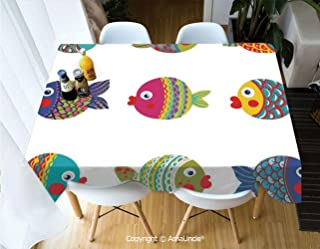 SUPFENG Ocean Animal Decor Polyester Personalized Printed Durable Tablecloth Boho Ethnic Featured Ornate Fish Gills Water Childish Kids Nursery Theme for Home Dinner Kitchen Living Room