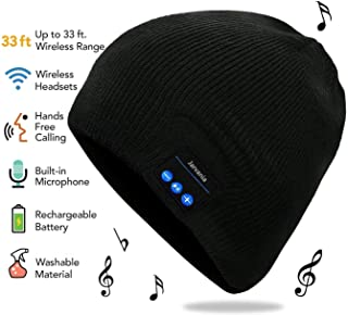 Bluetooth Beanie Hat, Wireless Headphone Beanie, Winter Knitting Beanie Cap Bluetooth Earphones, Built-in Microphone Hand-Free Calling, Gifts Both Women Men (Black)