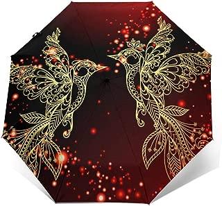 Sun Umbrella UV Protection Rain Tri-Fold Travel Umbrella Golden Pigeon Design, Windproof, Auto Open Close, Ergonomic Handle, Light Weight Compact & Portable Umbrellas For Women Men