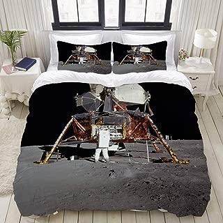 ZOMOY Duvet Cover Set, Moon Landing Apollo 11 Buzz Aldrin Lunar Moon Luna Non Slip, Decorative 3 Piece Bedding Set with 2 Pillow Shams