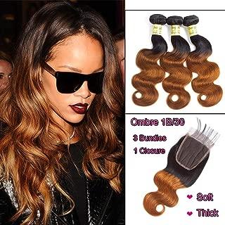 Ombre Hair Bundles Human Hair Body Wave T1B 30# Brazilian Virgin Hair 8A Grade Soft Hair Extensions With 4x4 Lace Closure(20