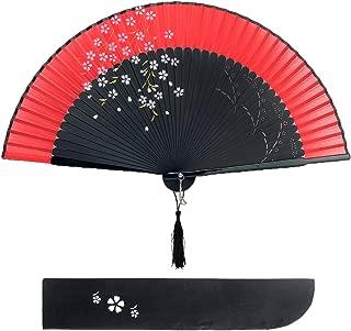 Dazone Blütenkirsche Muster Spitze Bambus Faltbar Handfächer für den Sommer Anlässen, Gartenfeste, Hochzeiten im Freien, Tuch Dekoration Rot
