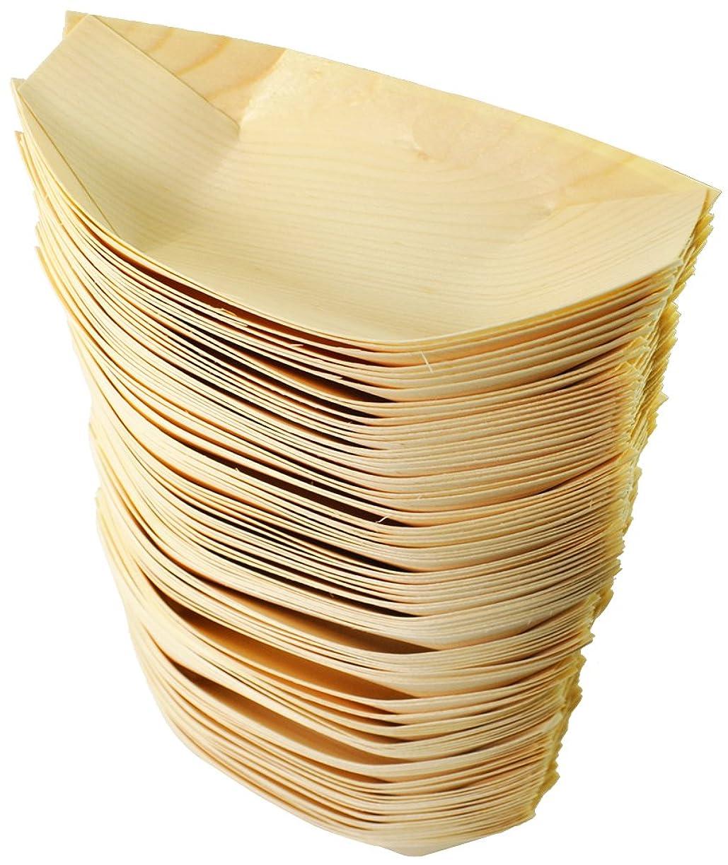 増幅器前売月曜日業務用 木製 たこ焼き舟皿 6寸タイプ 100枚入 Y-070