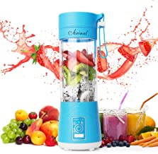 Portable Blender, Personal Size Juicer Cup, 13oz Fruit Mixing Machine for Travel, Rechargeable USB Juicer Cup for Shakes Smoothies Baby Food with Stainless Steel 6-Blades (FDA BPA Free) (blue)